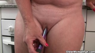 Granny in see through white pants masturbates