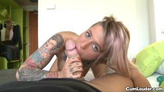 Spanish Tattoed babe sucks a big dick Outdoo