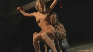 Bdsm day training for a slim blonde slave
