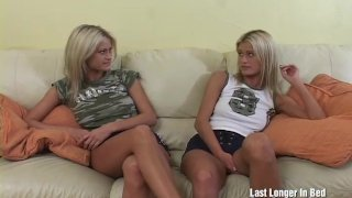 Pretty twin sisters fuck by huge cock
