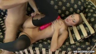 Gorgeous busty chick rides on her lover's big