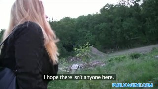 PublicAgent Hot blonde fucks stranger outside