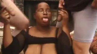 Chunky Ebony Sucks On Two Cocks