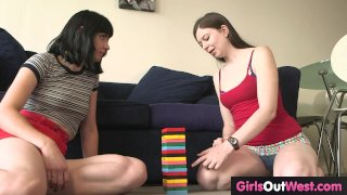 Hot pale amateur lesbians give rimjobs