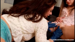 EroticMuscleVideos Teen Gags On Muscle Clit