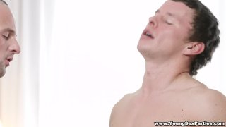 Double-fucking anal threesome