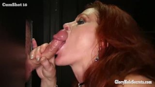 Gloryhole Secrets Redhead Gilf swallows cum