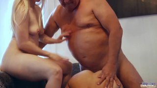Young maids rimming old boss hairy ass group fucking after double blowjob