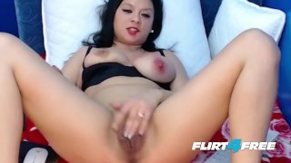Black Haired Babe With Natural Tits DPs Herself With Dildos