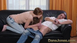Dane Jones Hot Czech redhead sucks cock and gets tight twat plowed on couch