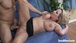Big tittied blonde takes fat cock