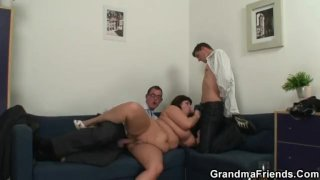 Huge titted mommy is lured into threesome