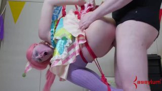 Nonstop ass to mouth for poor little circus slave