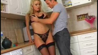 Czech Blonde Disgraced In Kitchen