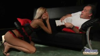 Kinky Blonde likes to get fucked and to suck off grandpa cock and tits cum