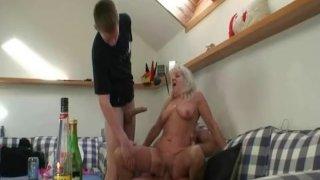 Drunk grandma sucks and rides two cocks