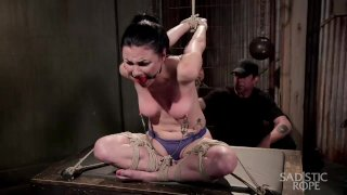 Veruca James in intense predicament bondage.
