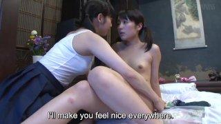 Subtitles JAV CFNF Japanese lesbian teen foreplay