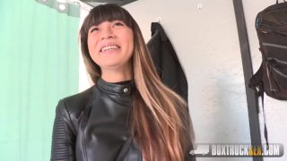 Mona Kim gives a Facefucking Blowjob in Public
