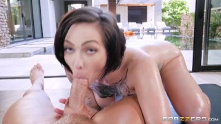 Tatted Slut Gets Oiled Up and Fucked - Brazzers