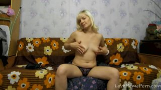Hot Russian Blonde Plays With Herself on Her Couch