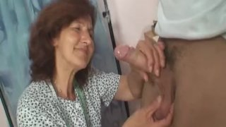 He picks up and fucks huge-boobs old woman