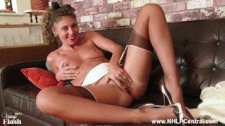 Horny French Milf Chloe wanks hairy pussy in lingerie garters heels nylons