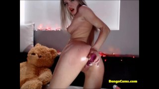 Blonde exposing Her Perfect Pink Teen Pussy on Close Up