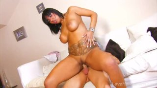 Big Jugs Black Babe Takes Cock In Butt