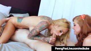 Red Head Penny Pax Bangs Tattooed Pair Sarah Jessie & Alex!