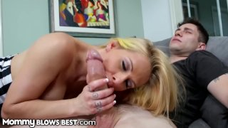 HOT MILF Rachel Roxxx Sucks 18yo Step Son's Young Big Dick