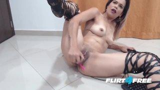 Flirt4Free - Daisy Dane - Colombian Hottie in Leather Leggings Squirts