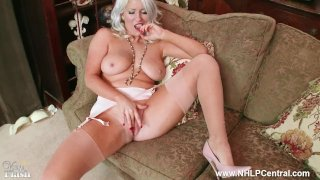 Horny blonde with big tits Lu Elissa wanks off in rare vintage stockings