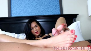 Shy Teen Marley Gives Her First Footjob for FuckedFeet