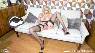 Sexy blonde Milf Amber Jayne strips off black lingerie fingering in nylons