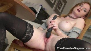 Redhead Babe With Big Tits Masturbates Firebush To Pussy Clenching Orgasm