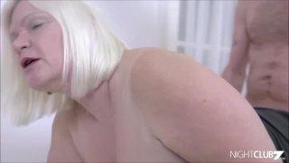 Chubby mature takes facial cumshot