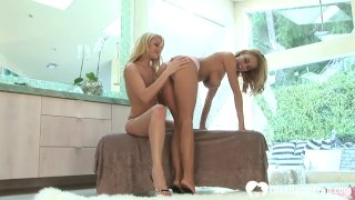 Two luscious blondes use some sex toys