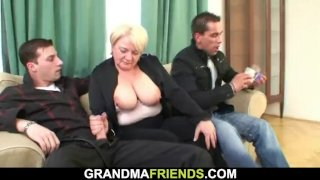 Picked up blonde grandmother double penetration