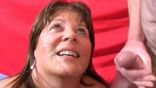 Mature Stacy takes a heavy spunking