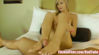Cute Blonde Teen Gives Her First Footjob at Fucked Feet!