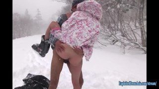 Jav Amateur Itsuka Fucks In The Snow In Hokkaido Uncensored Action Outdoors