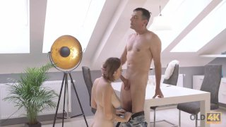 OLD4K. Daddy erupts cum on pubis of young seductive student girl