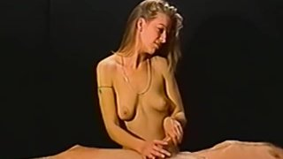 Petite amateur blonde gives a massage then a handjob