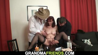 Two boozed dudes fuck hairy redhead old granny