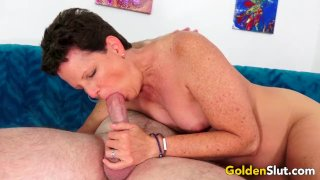 Mature Brunette Beth McKenna Has Her Hairy Pussy Stretched