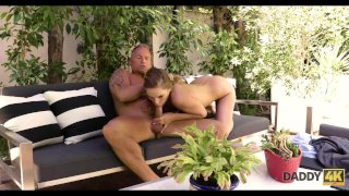 DADDY4K. Beautiful miss has passionate outdoor sex with Bfs father