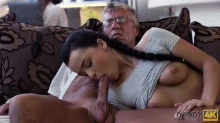 DADDY4K. Grey-haired old man with glasses fucks beautiful young girl Erica