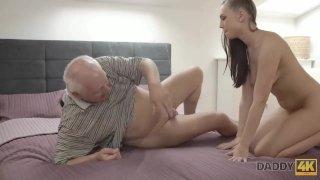 DADDY4K. Teen petite Ornella Morgen tastes dick of her boyfriends father