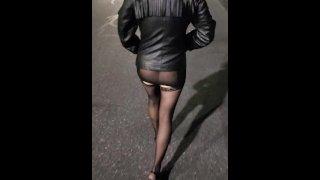 My wife drunk walking showing her ass in a see through dress